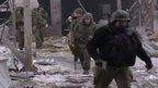 Still of rebels at Donetsk airport (18 Jan)