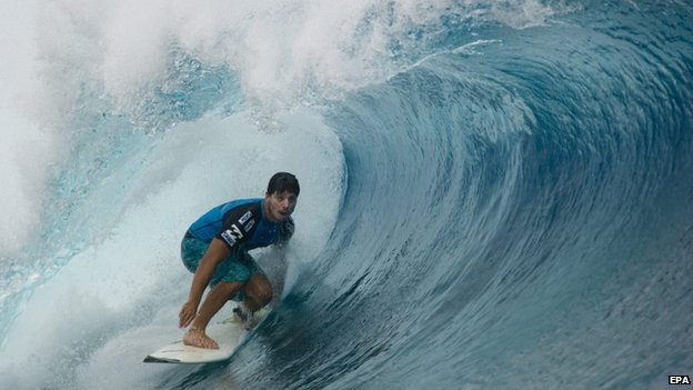 Ricardo Dos Santos surfing on 27 August 2012.
