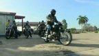 Motorcycle group in Cuba