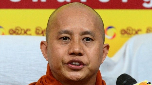 Myanmar Buddhist monk Ashin Wirathu addresses a press conference in Colombo on September 30, 2014.
