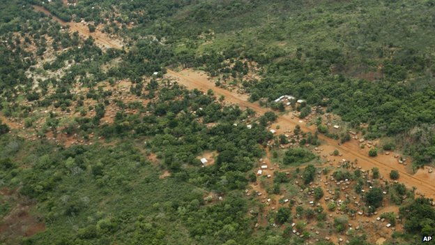 Aerial view of the town of Obo in the Central African Republic