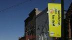 Street banner advertising Sundance Film Festival
