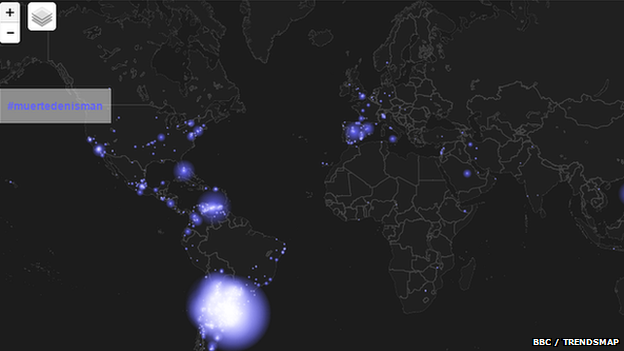 "A Twitter heatmap of where ""#muertedenisman"" is trending"