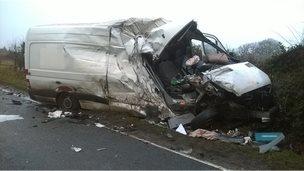 Crashed van in Wem