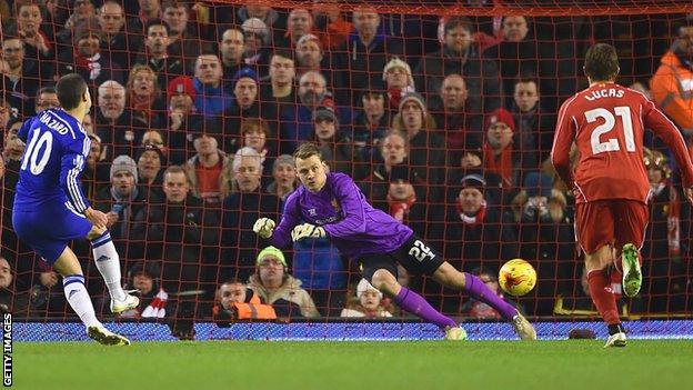 Chelsea's Eden Hazard scores against Liverpool