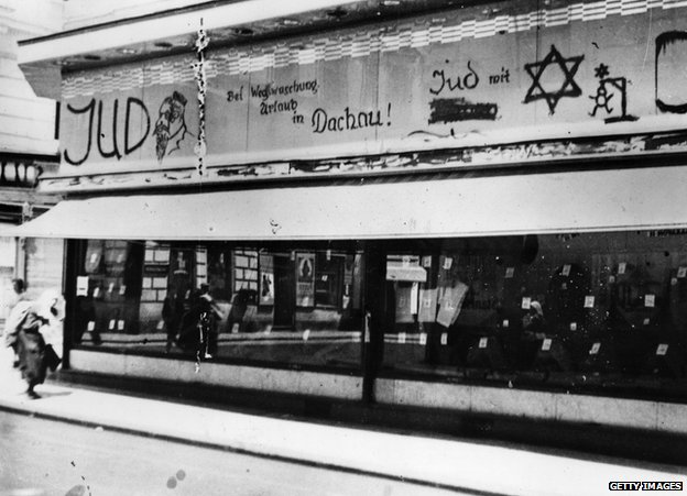 Anti-Semitic graffiti on shop, Vienna 1938