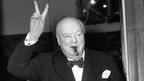 Winston Churchill giving V-for-victory sign