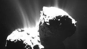 An image of dust and gas streams coming away from the comet.