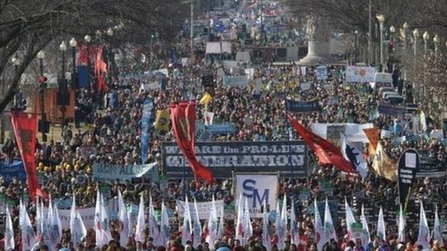 Anti-abortion activists take part in the annual March for Life on January 22, 2015 in Washington, DC.