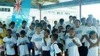 Scouts in Jubilee T-shirts in Tuvalu