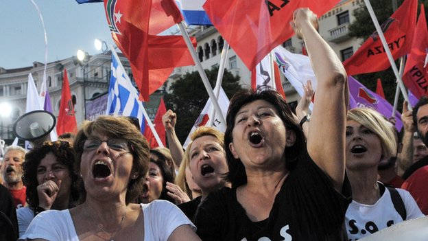 Syriza supporters at a rally in Thessaloniki on 21 May 2014