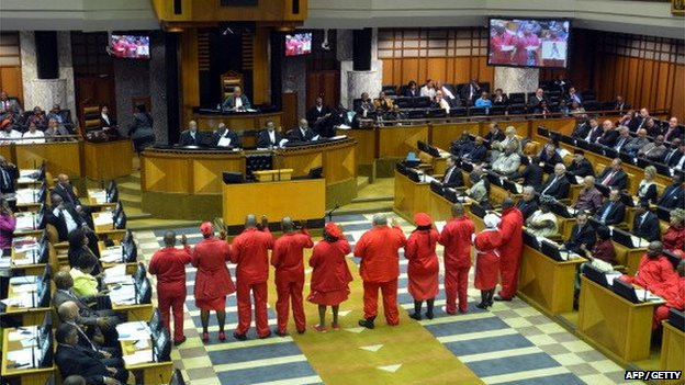Members of the Economic Freedom Fighters (EFF) are sworn in to the South African Parliament on 21 May 2014, in Cape Town