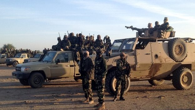 Chadian soldiers on Cameroon's border with Nigeria - 21 January 2015