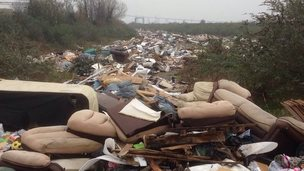 Fly tipping site in Purfleet