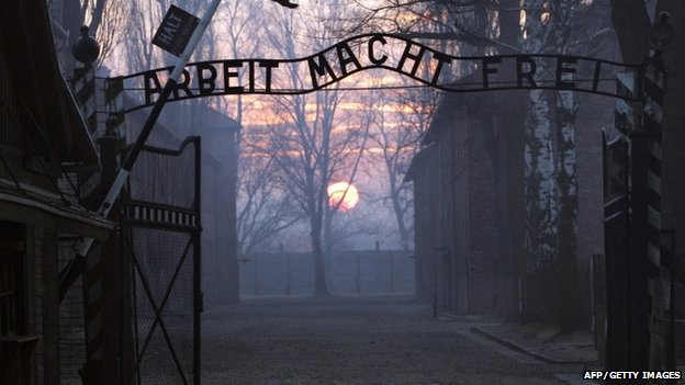 A 2005 picture of the main gates at Auschwitz