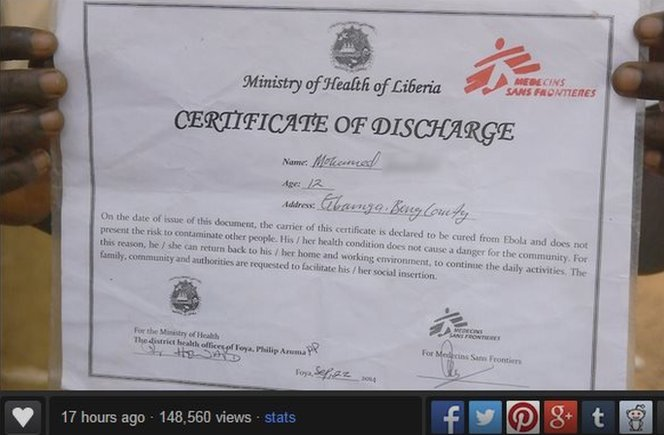 Imgur image of Ebola discharge certificate