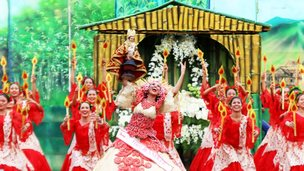 Women performing at Sinulog Festival in Philippines