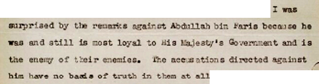 Extract from letter defending Abdullah bin Faris