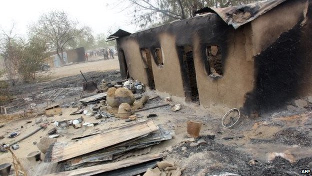 Burnt houses in Baga after a Boko Haram attack - Nigeria, 2013