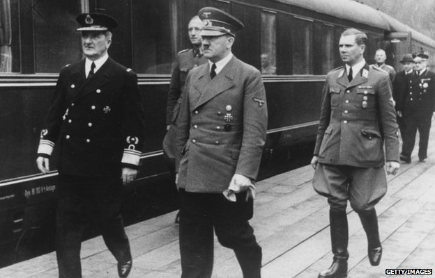 Hitler meeting Hungarian leader Miklos Horthy on 20 Mar 1944
