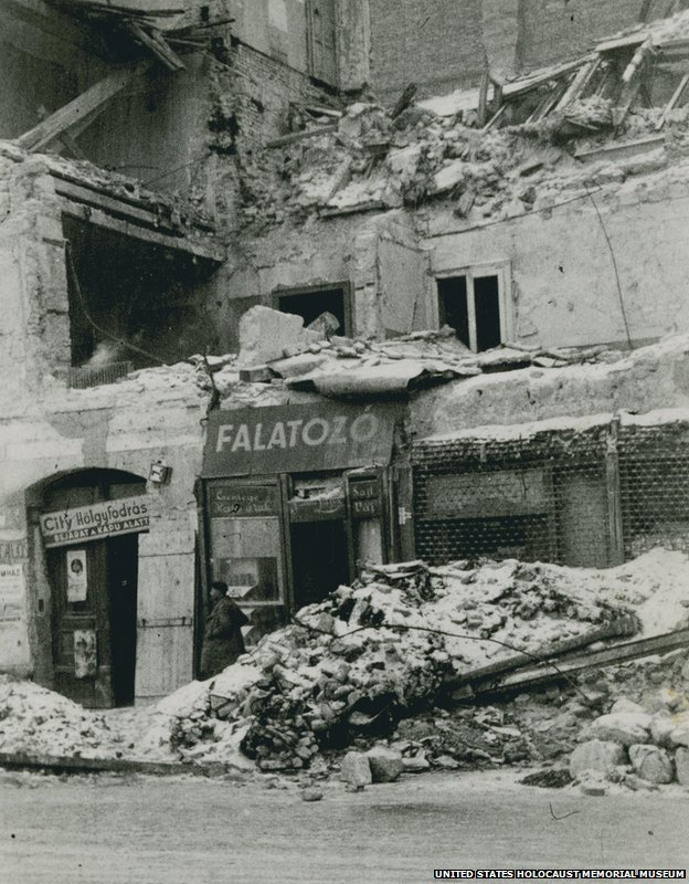 A bombed out street in Budapest shortly after liberation