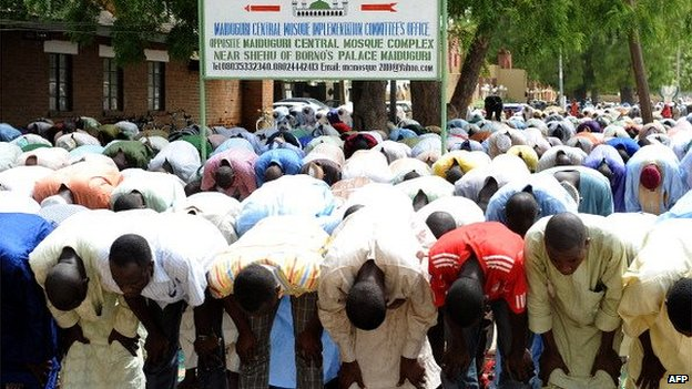 Muslims pray at Maiduguri Central Mosque in Nigeria - 2012