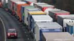 Queuing lorries on the M20 in Kent