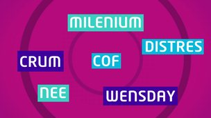 A collection of words spelled in a different way. Wednesday appears as Wensday and millennium appears as milenium.