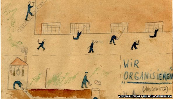 "Thomas Geve (b. 1929), We are ""Organizing"", Buchenwald DP camp, 1945, Pencil, coloured pencil and watercolour on paper, 10X15 cm, Collection of the Yad Vashem Art Museum, Jerusalem, Gift of the artist"