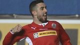 Joe Gormley celebrates scoring the opener against Ballymena