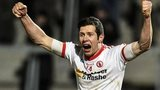 Tyrone captain Sean Cavanagh celebrates at the final whistle in Armagh