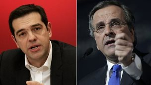 Alexis Tsipras and Antonis Samaras, who are competing in Greek polls