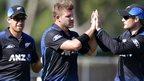 New Zealand celebrate another Sri Lanka wicket in Dunedin