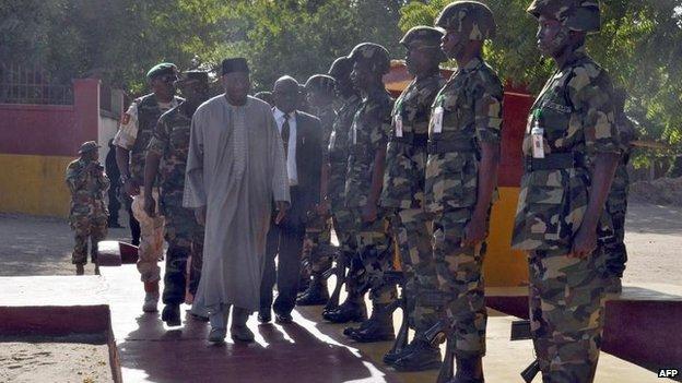 President Goodluck Jonathan made a surprise visit to Maiduguri last week, 15 Jan