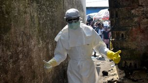 Ebola worker in Monrovia, file pic