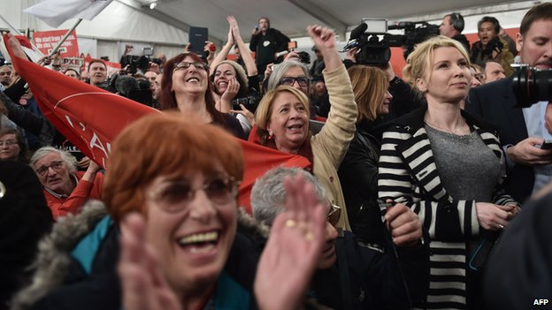 Anti-austerity Syriza supporters celebrate after the first exit polls in Athens on January 25, 2015