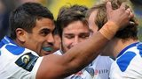 Wesley Fofana and Camille Lopez congratulate Nick Abendanon on his try for Clermont