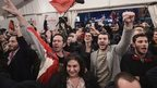 Syriza supporters celebrate in Athens, 25 January