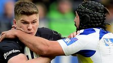 Owen Farrell was injured in a tackle by Clermont's Portugal flanker Julien Bardy
