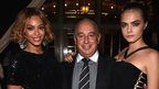 Beyoncé Knowles, Sir Philip Green and Cara Delevingne attend the Topshop Topman New York City
