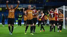 Bradford players celebrate during the FA Cup win over Chelsea