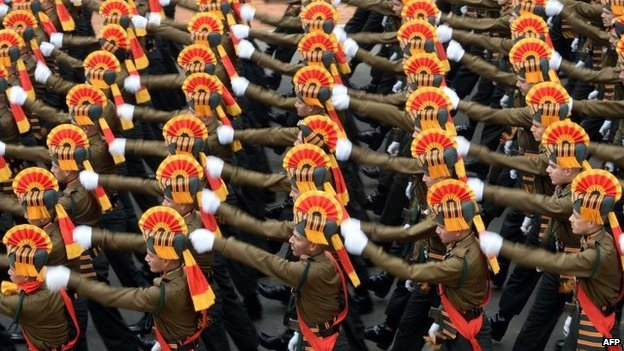 Indian Army soldiers march in formation down Rajpath during the full Republic Day Dress rehearsal in New Delhi on January 23, 2015.