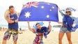 Beachgoers pose on Bondi beach as part of the 2014 Australia Day Celebrations on January 26, 2014 in Sydney, Australia.