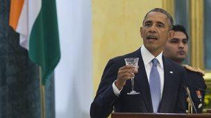 Barack Obama at state dinner in Delhi (25 Jan 2015)