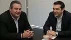 Alexis Tsipras of Syriza party and Panos Kammenos, chairman of the right-wing Independent Greeks party, meet in Athens on 26 January.