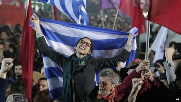 Supporters of Syriza celebrate the party's victory