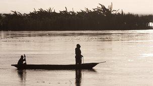 Fishermen on lake in Malawi