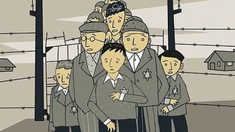Image from Children of the Holocaust showing Jewish men, women and children in a concentration camp