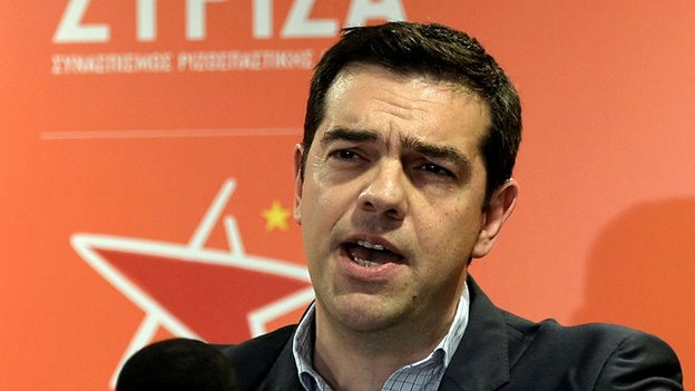 The leader of the Greek party Syriza, Alexis Tsipras, gives a televised speech after the results of the European elections at his party's headquarters in Athens on 25 May 2014.