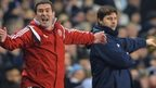 Sheffield United manager Nigel Clough and Spurs boss Mauricio Pochettino
